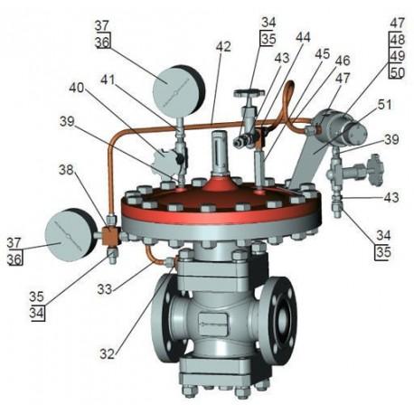ГРПШ-03М-07-2У1-2 с 2-мя линиями редуцирования и разными регуляторами на 2 выхода при параллельном включении регуляторов