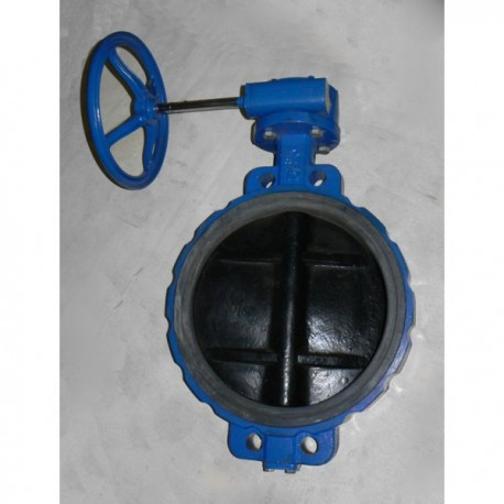 Затвор (заслонка) поворотный дисковый межфланцевый Ду400 Ру16, привод штурвал-редуктор - НЕФТЕГАЗМАШ